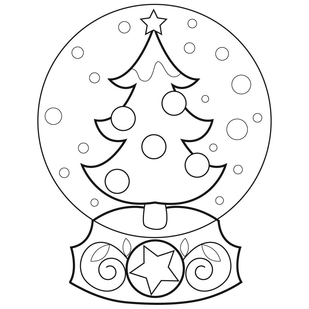 globe coloring page - snow globe coloring page