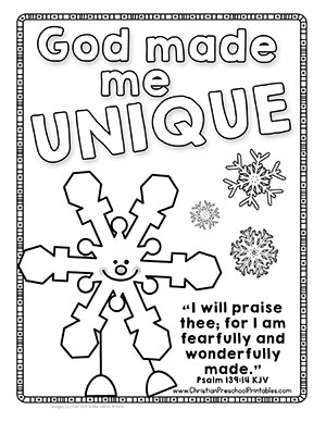 god made me coloring page - snow themed bible printables