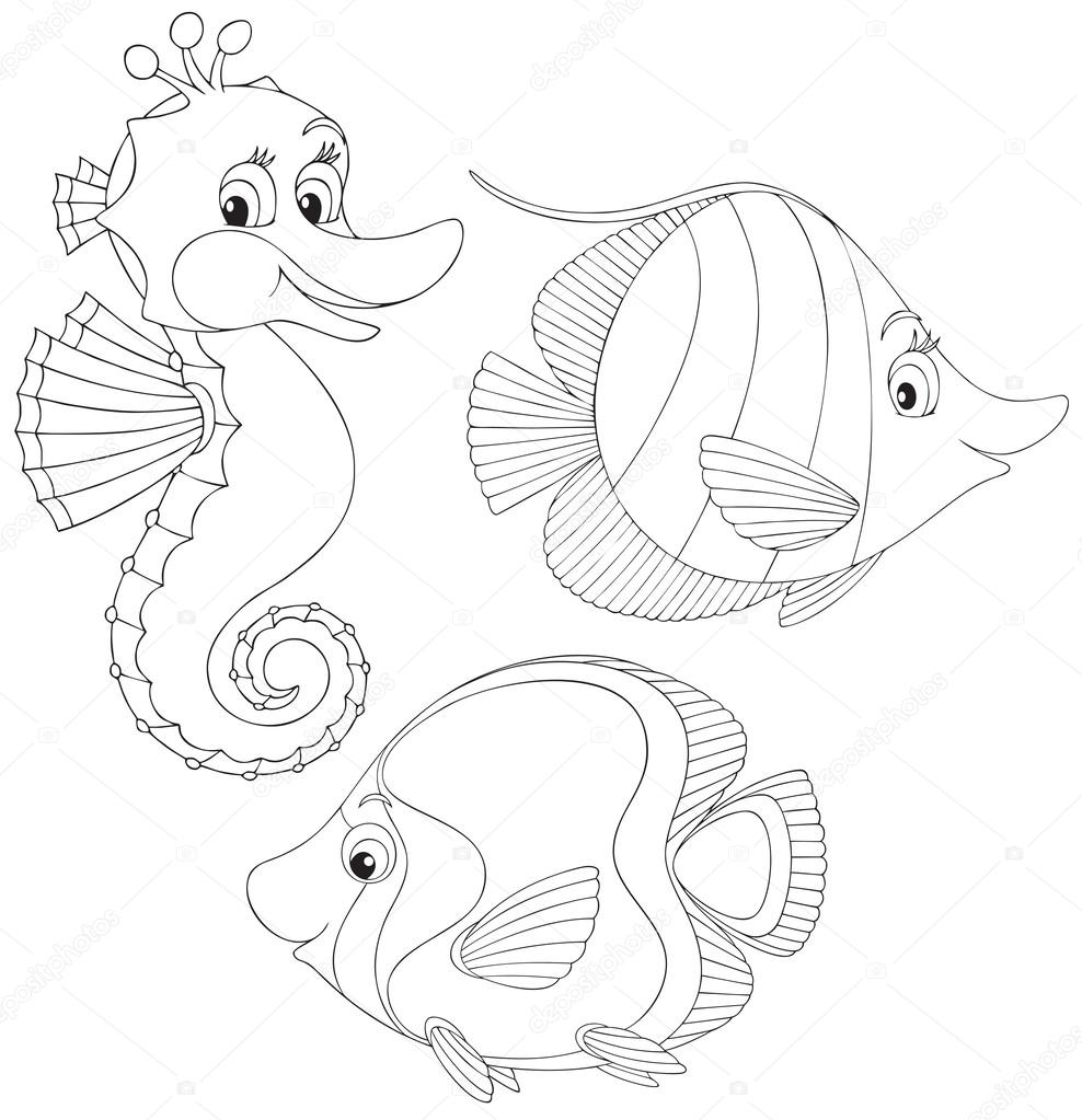 goldfish coloring page - stock illustration coral fishes and seahorse