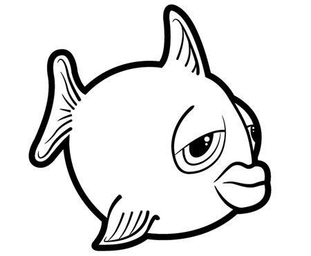 goldfish coloring page - fish drawing outline