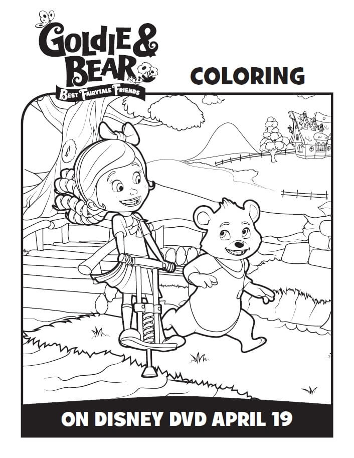 goldie and bear coloring pages - gol and bear coloring pages activity sheets
