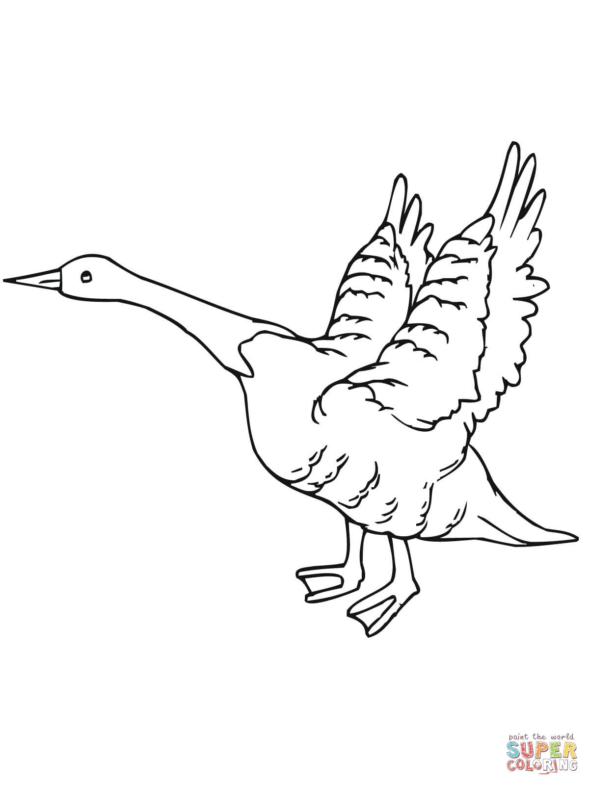 Goose Coloring Page - Goose Fly Away Coloring Line