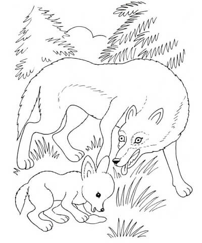 goosebumps coloring pages - louve et louveteau