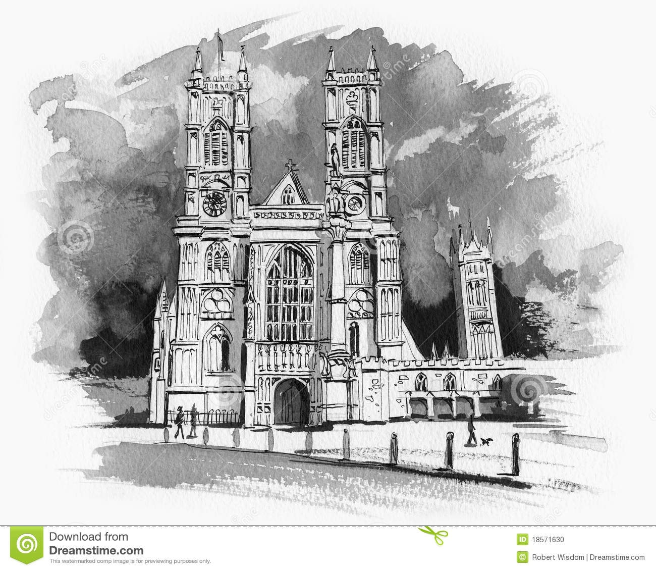 gothic coloring pages - stock photo westminster abbey sketch image