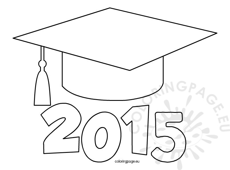 graduation cap coloring page - graduation cap 2015