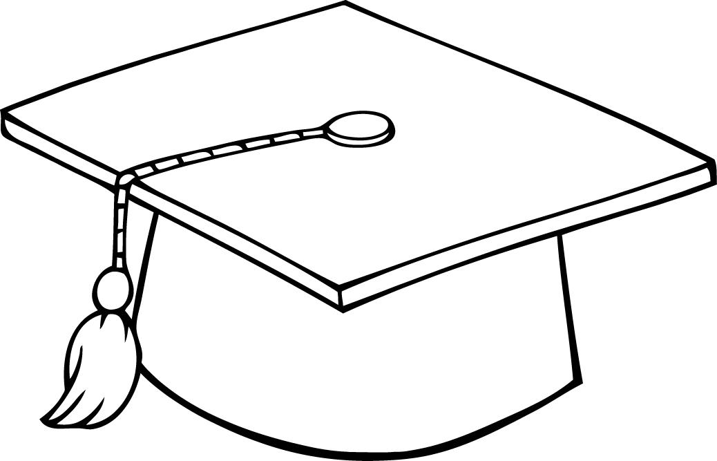 graduation cap coloring page - printable sheet of black and white outline of a graduation cap