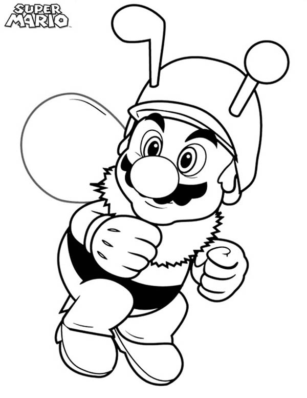 graduation coloring pages - super mario brothers wearing bee costume coloring page
