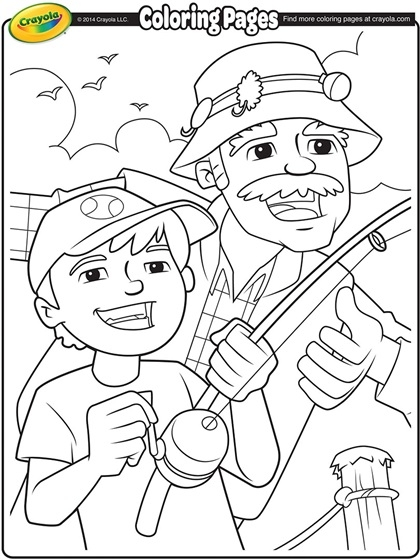 grandparents coloring pages - fishing with grandpa coloring page