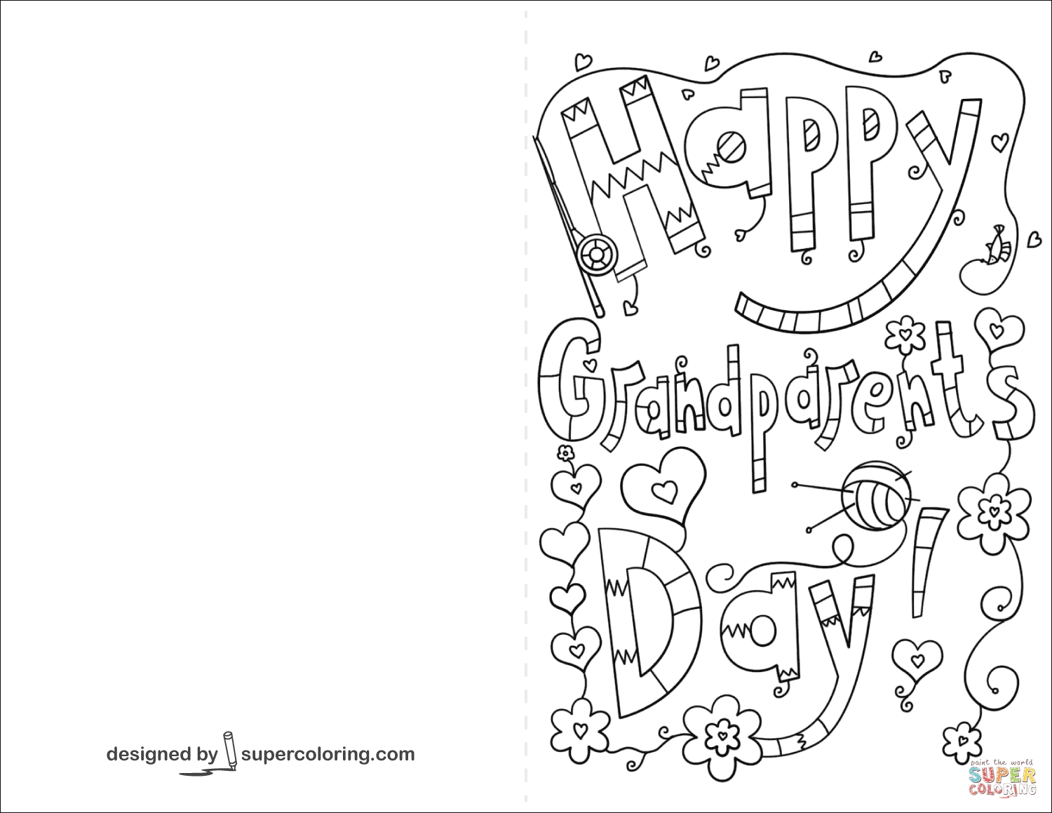 grandparents coloring pages - happy grandparents day doodle card