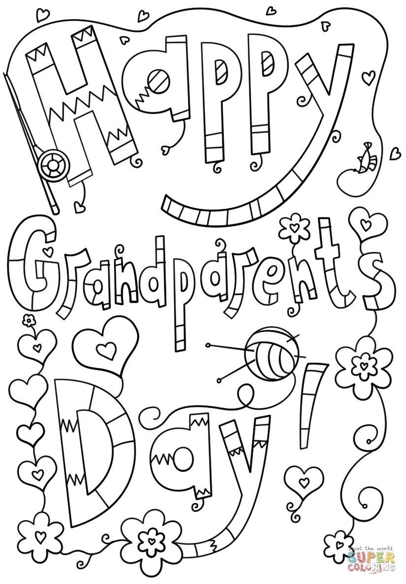 grandparents day coloring pages - happy grandparents day doodle