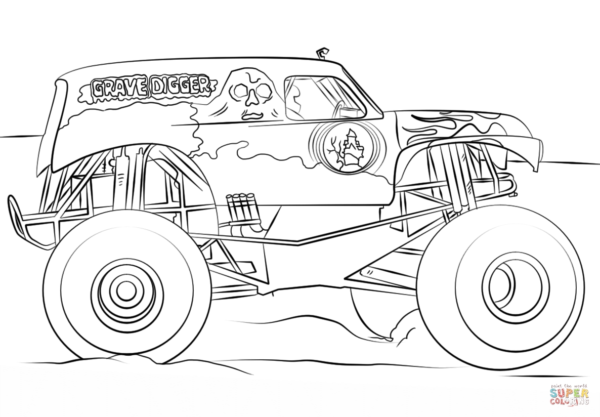 Grave Digger Coloring Pages - Grave Digger Monster Truck Coloring Page