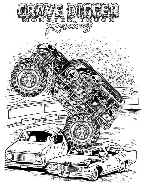 grave digger coloring pages -