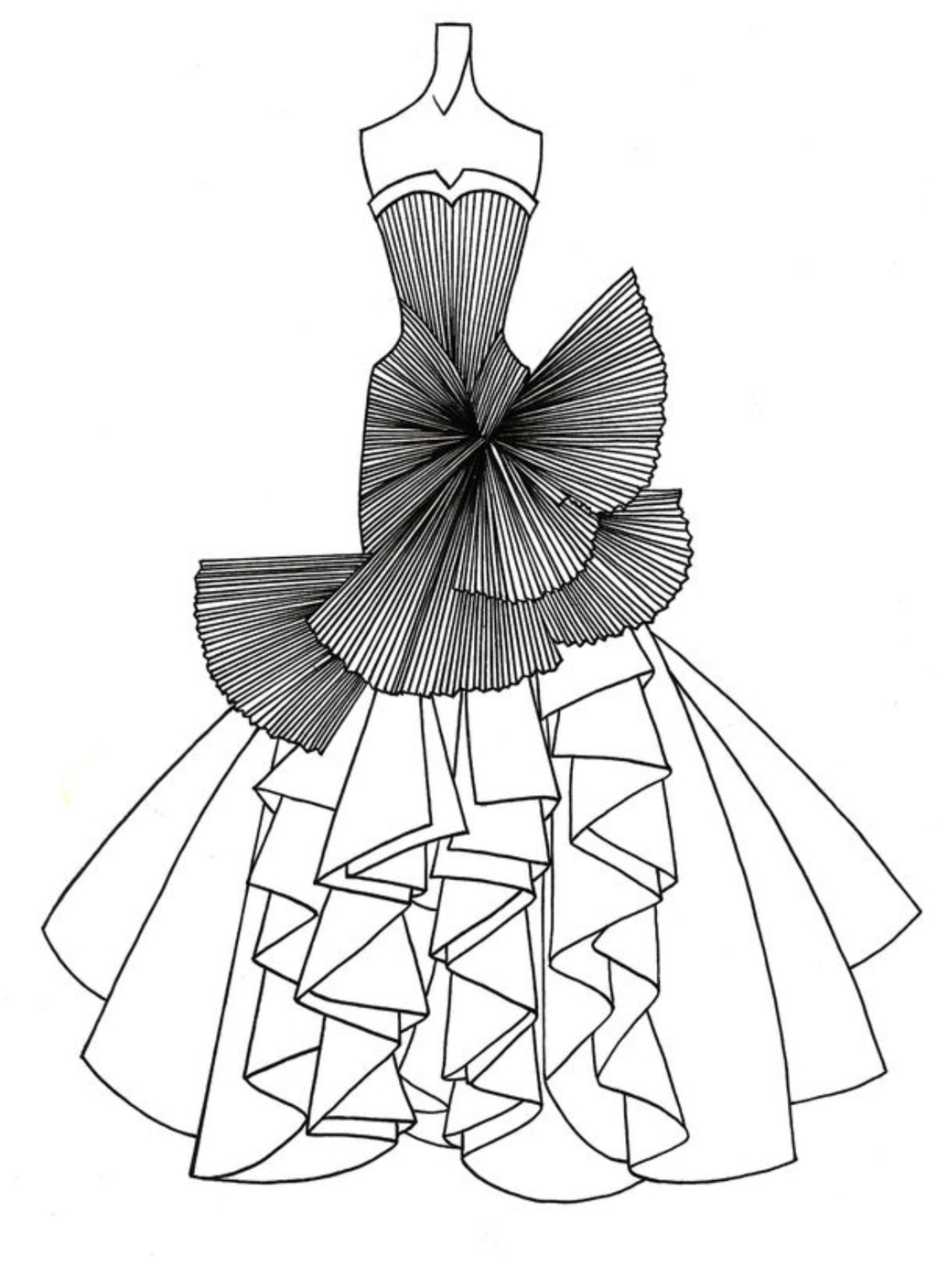 grayscale coloring pages - 裙子素描画图片大全