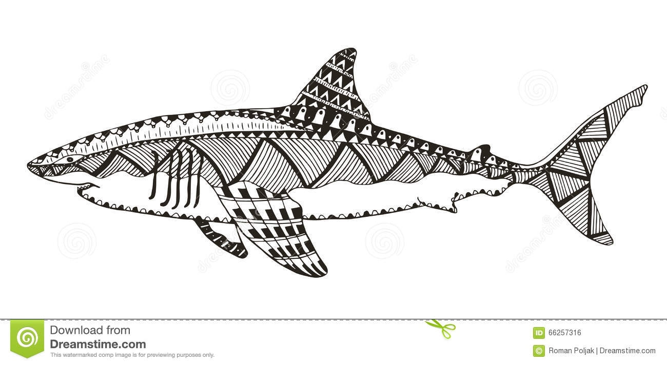 great white shark coloring pages - stock illustration shark zentangle stylized vector illustration pattern freehan freehand pencil hand drawn zen art print t shirts coloring image
