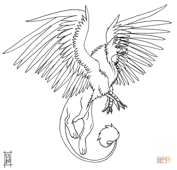 griffin coloring pages - akhor the griffin