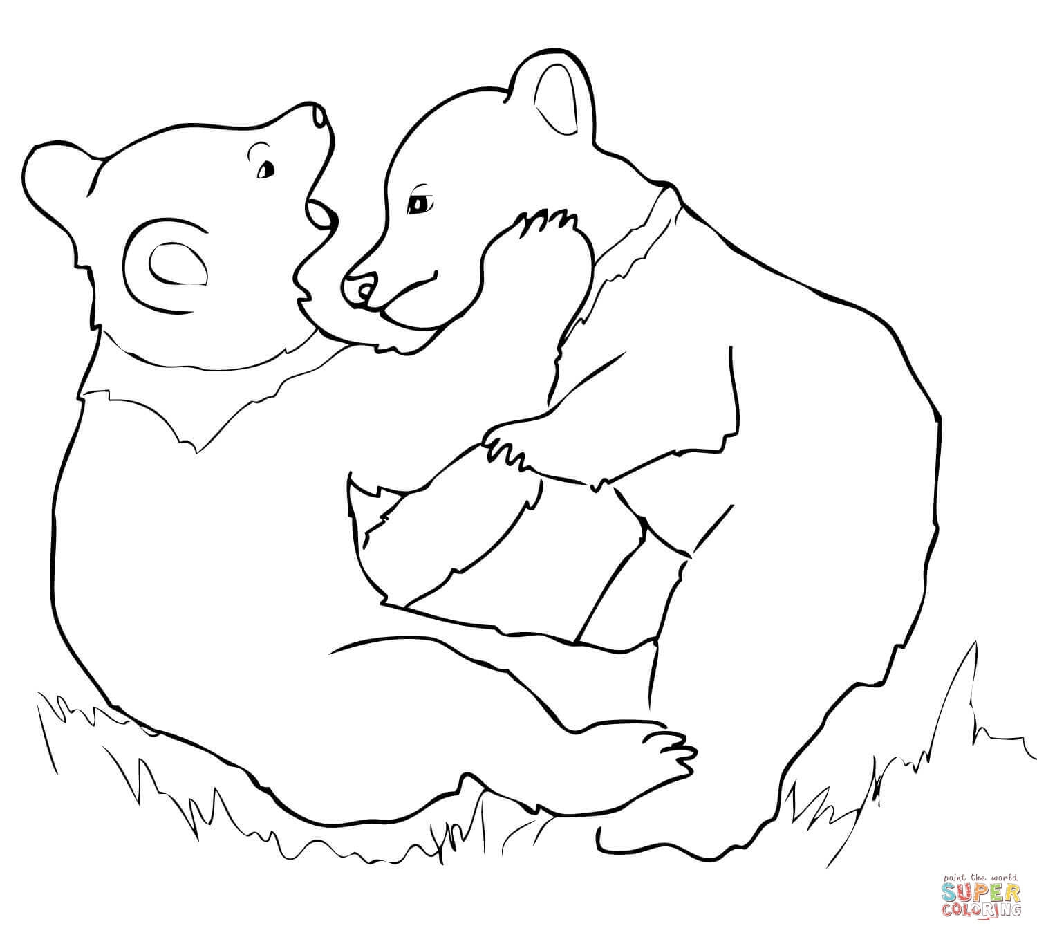 grizzly bear coloring page - grizzly bear cubs playing