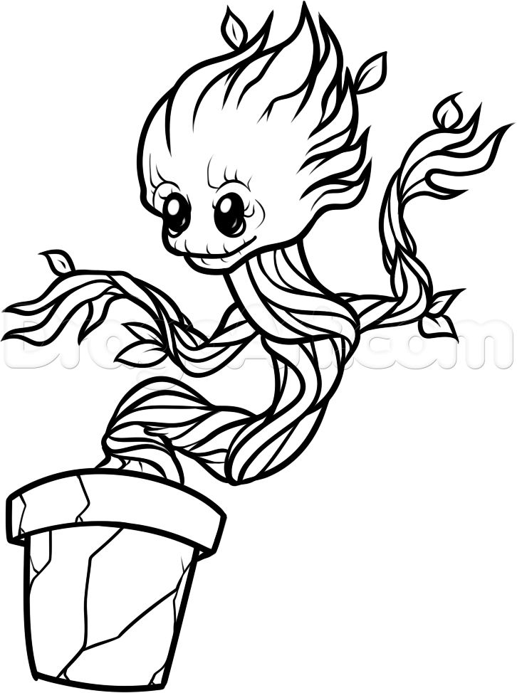 groot coloring pages - baby groot drawings coloring page sketch templates