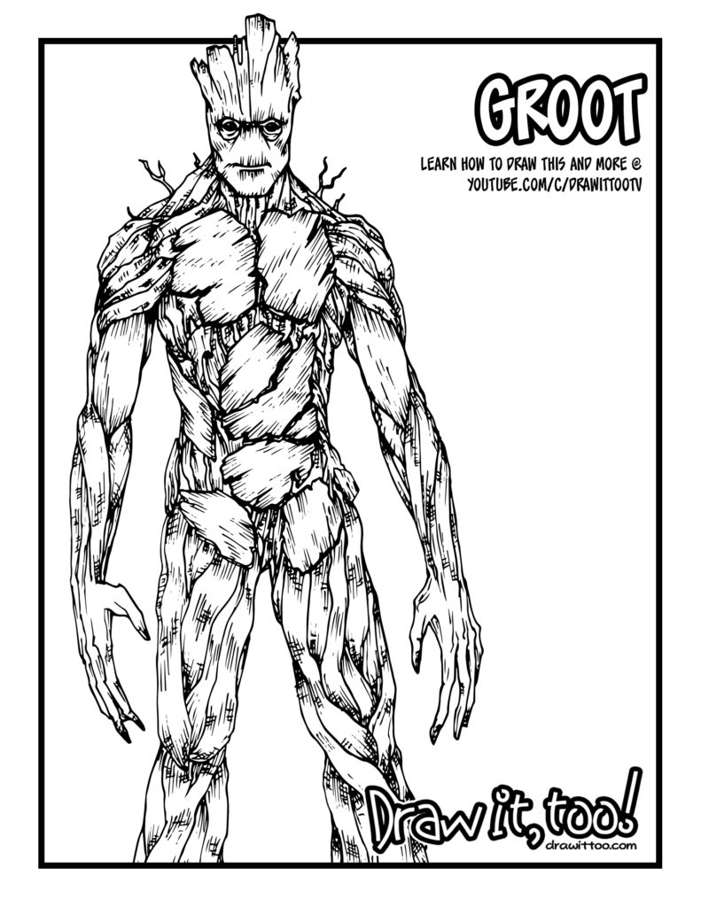 Groot Coloring Pages - Groot Guardians Of the Galaxy Tutorial Draw It too
