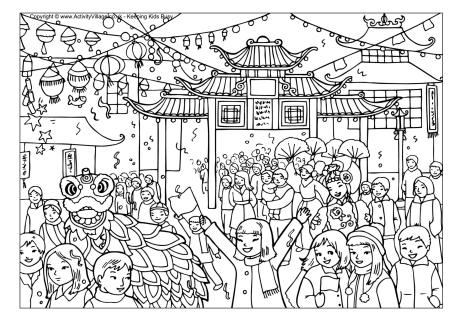 groundhog coloring page - chinese new year celebration colouring page