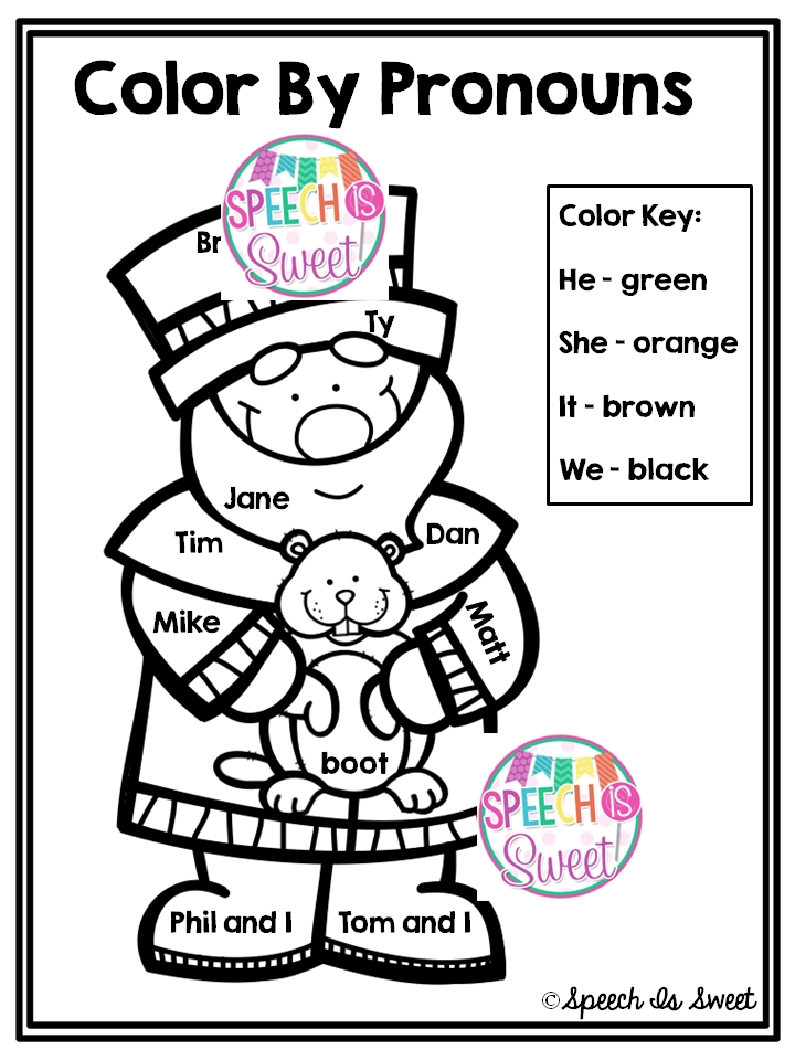 groundhog coloring page - color by pronouns groundhogs day freebie