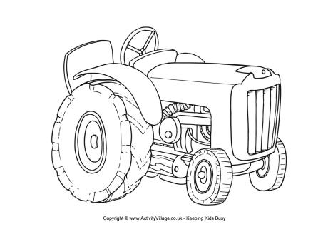 groundhog coloring page - tractor colouring page