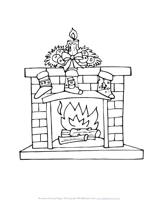 groundhog day coloring pages free printable - fireplace coloring page