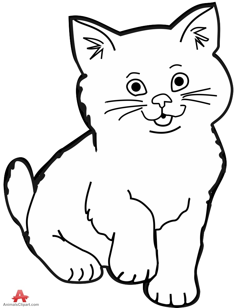 Groundhog Day Coloring Pages - Cat Clipart Black and White