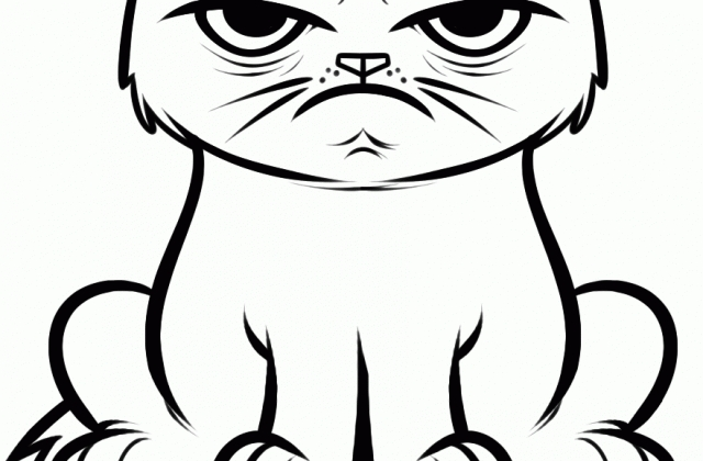 grumpy cat coloring pages - cute cat drawings that are colored