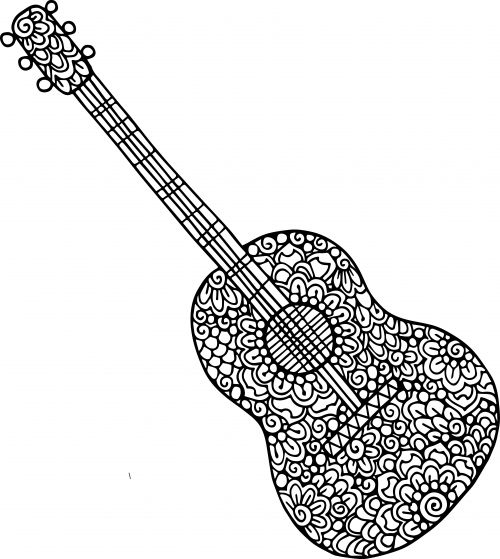 Guitar Coloring Page - Guitar Doodle Coloring