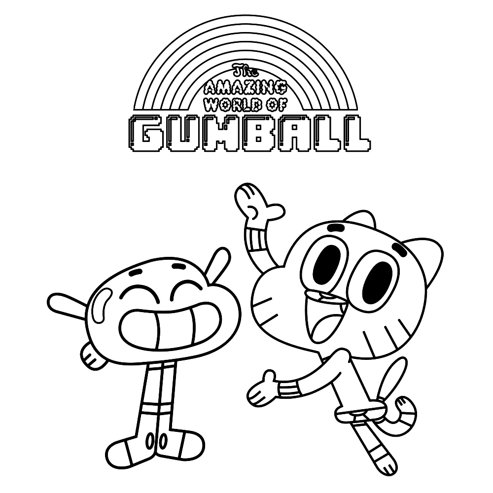 gumball coloring pages - r=gumball and darwin