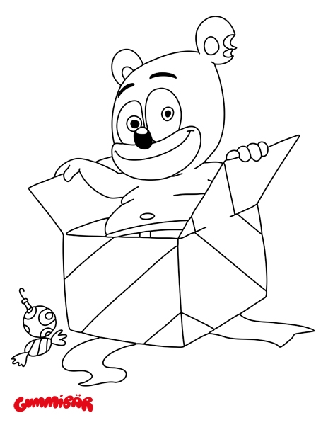 gummy bear coloring page - a free printable gummibar december coloring page