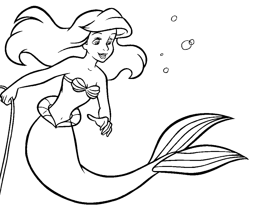 hair coloring pages - ariel la sirene