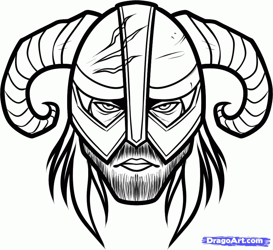 hair coloring pages - how to draw dovahkiin easy