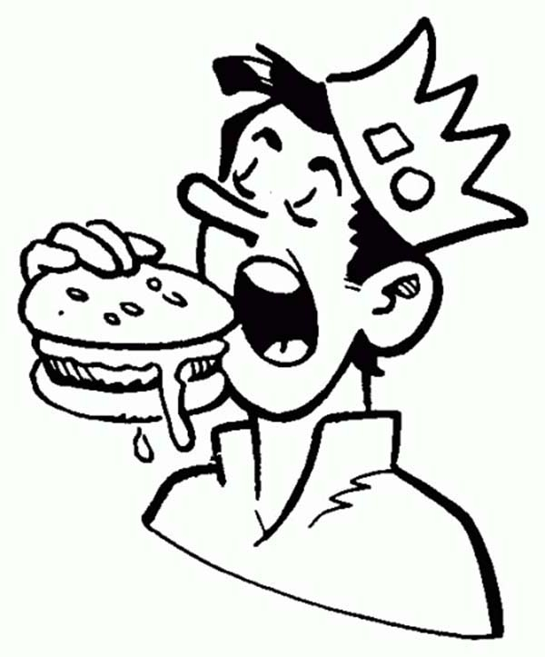 hamburger coloring page - jughead eating hamburger in archie ics coloring page