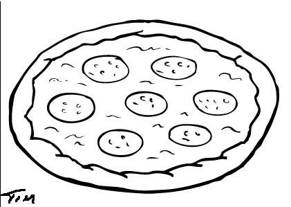hamburger coloring page - pizza