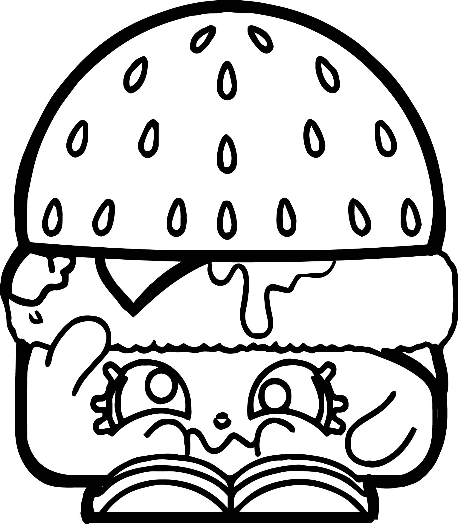 hamburger coloring page - sad hamburger coloring page