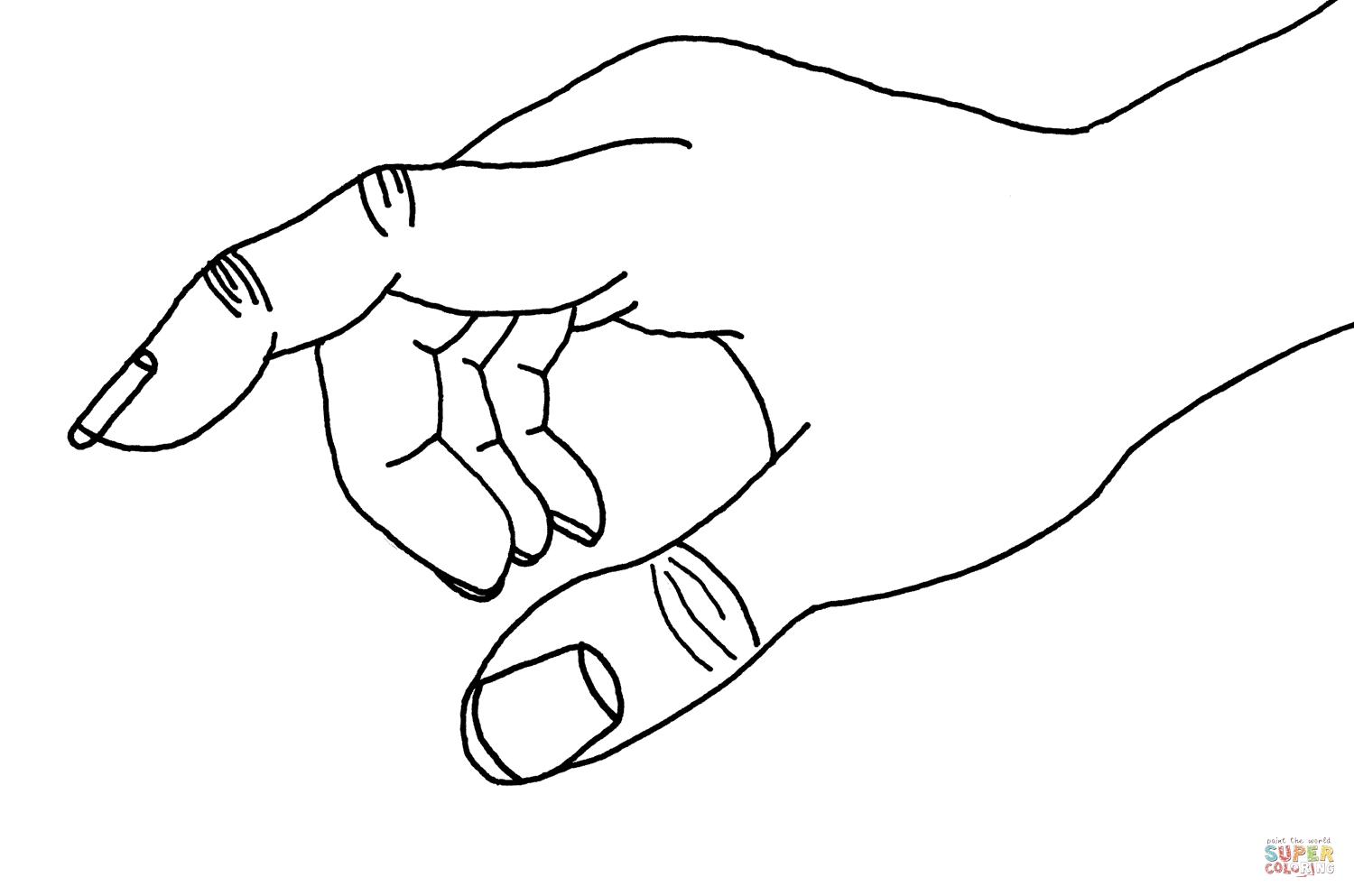 hand coloring page - pointing hand sketch templates