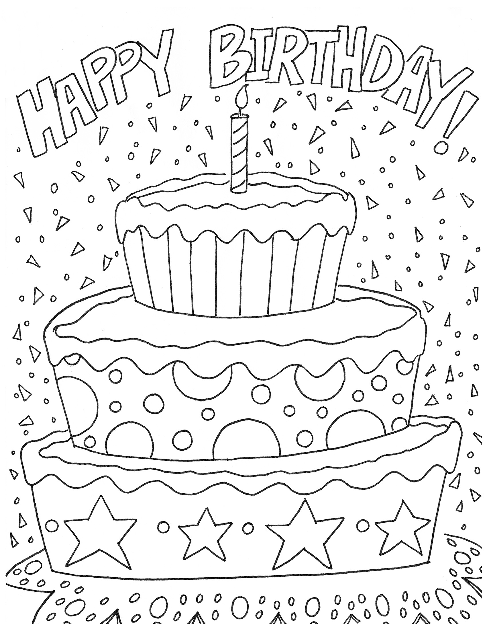 happy birthday coloring pages - artzycreations