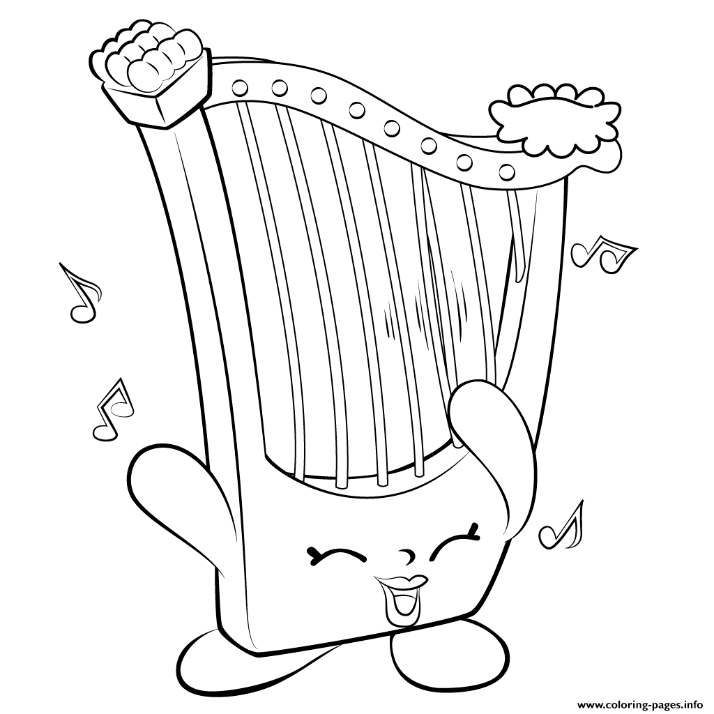 happy birthday coloring pages printable - harp musical instrument shopkins season 5 printable coloring pages book