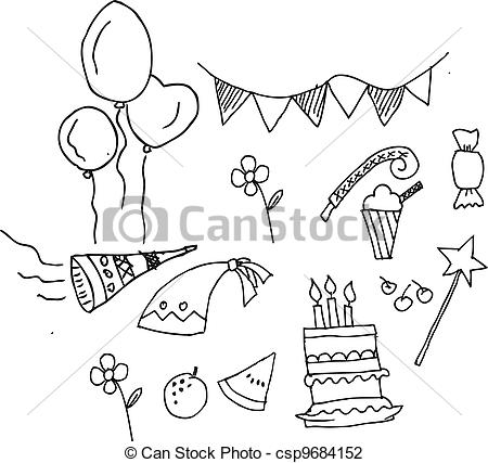 happy birthday coloring pages printable - cute birthday party set isolated