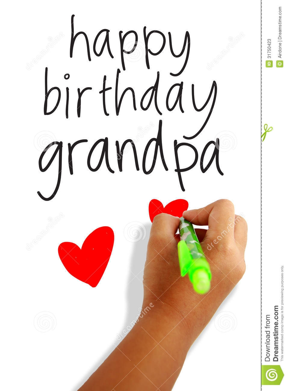 happy birthday dad coloring pages - stock photos happy birthday grandpa girls hand holding pen writing greeting card image