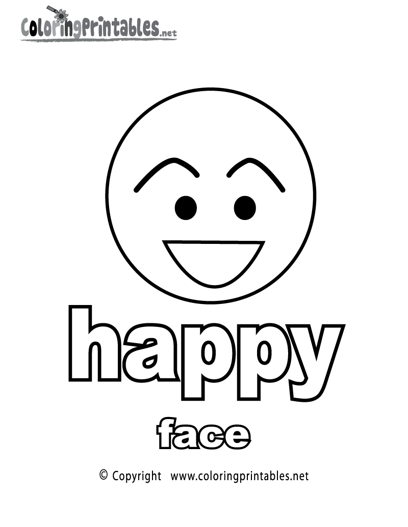happy coloring pages - adjectives happy face coloring page