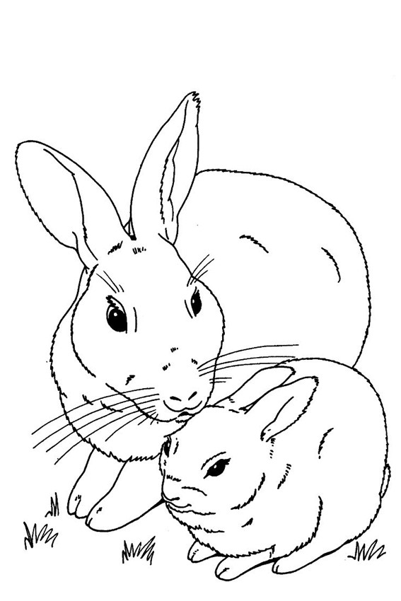happy easter coloring pages - bunnies