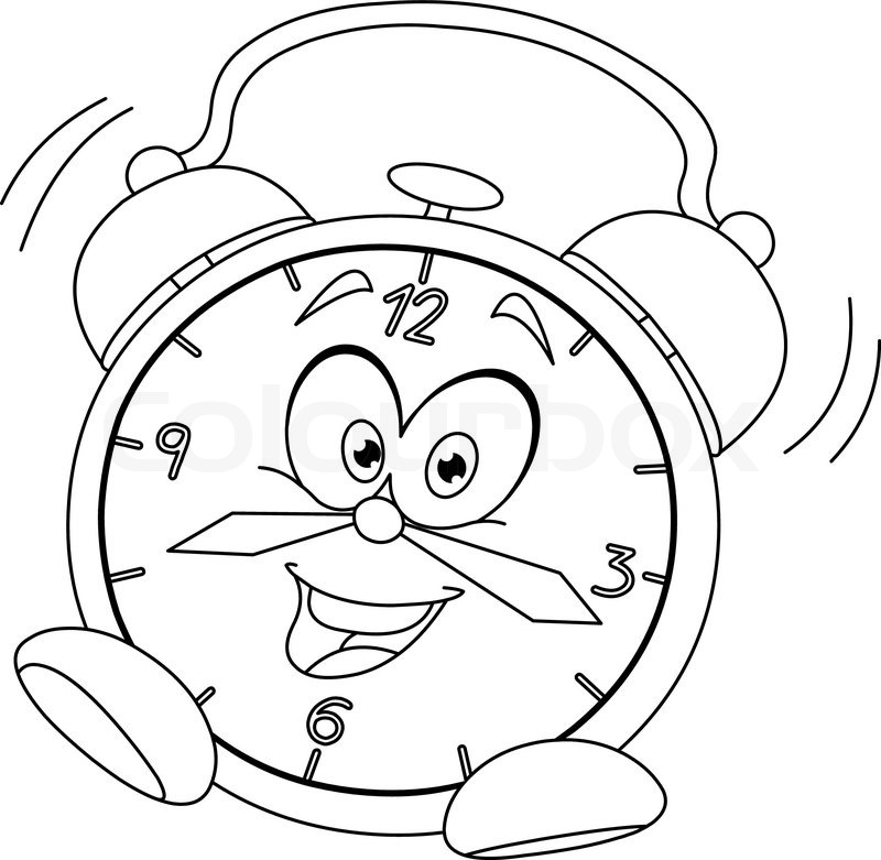 happy face coloring page - outlined cartoon alarm clock vector