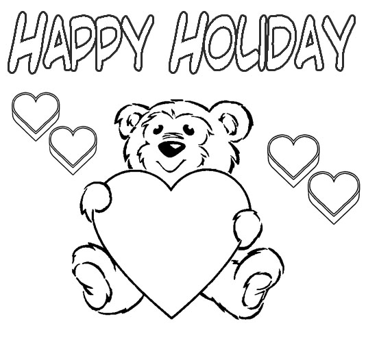happy holidays coloring pages - happy holiday coloring pages