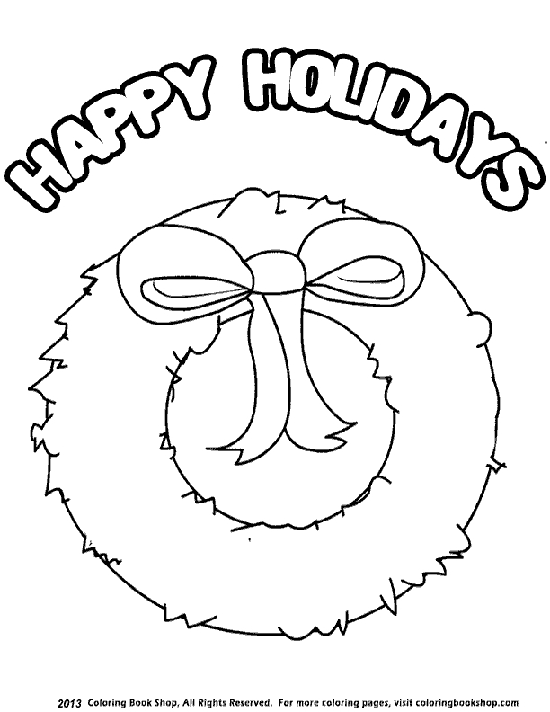 happy holidays coloring pages - holidaywreath