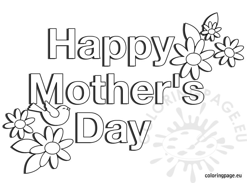 Happy Mothers Day Coloring Pages - Happy Mother S Day Flowers Coloring Page
