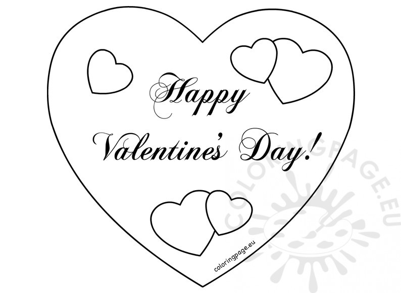 happy valentines day coloring pages - happy valentines day hearts card