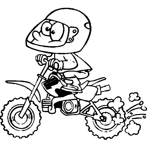 harley davidson coloring pages - cartoon of dirt bike rider coloring page