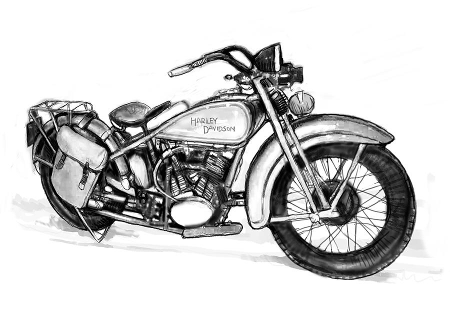 harley davidson coloring pages - motercycle drawing art sketch 1 kim wang